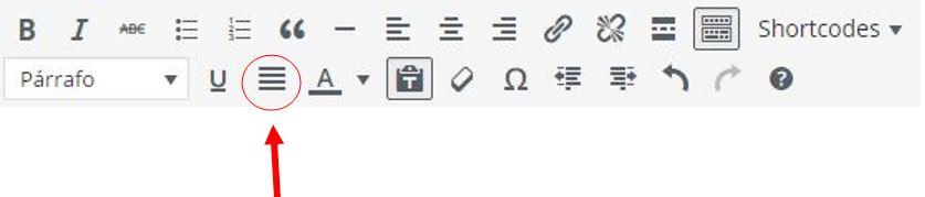 cómo justificar texto en wordpress
