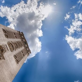giralda and blue sky in seville spain